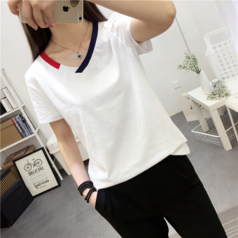 Mengqifu Women's Slim Fit Striped V-Neck Short Sleeve T-Shirt Color Varies (8012 white)