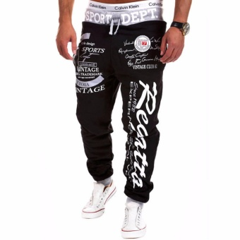 Mens Casual Jogger Dance Sportwear Pants Trousers Sweatpants Black+Grey - intl