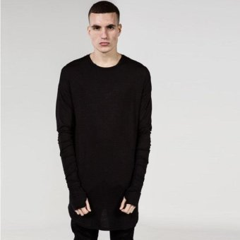 Mens Hip Hop T-Shirt full Long Sleeve T-Shirt With Thumb Hole CuffsTees shirts Curve Hem Men Street Wear Tops(Black) - intl