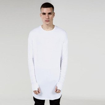 Mens Hip Hop T-Shirt full Long Sleeve T-Shirt With Thumb Hole CuffsTees shirts Curve Hem Men Street Wear Tops(White) - intl