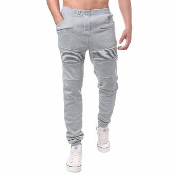 Men's Jogger Dance Sportwear Baggy Harem Pants Slacks TrousersSweatpants (Light Gray)-Intl