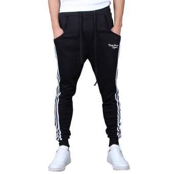Mens Jogging Pants Tracksuit Bottoms Training Running Trousers Black