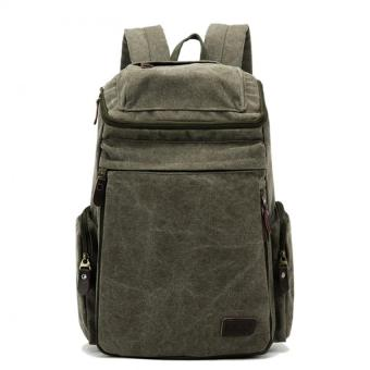 Mens Large Vintage Canvas Backpack School Laptop Bag Hiking Travel Rucksack Olive