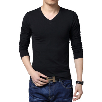 Men's Long Sleeved Cotton T-shirt Fashion V-Neck Solid Color BasicsTees (Black)