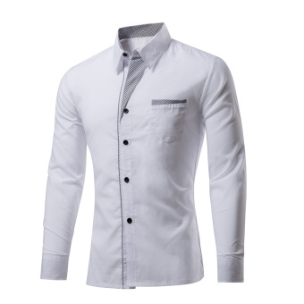 Mens Long-sleeved Formal Shirt Solid Color Slim Shirt (White) -intl