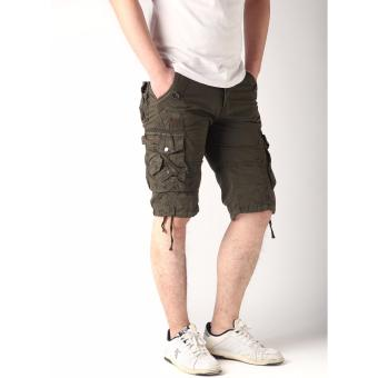 Men's New Army Six Pocket Cargo Shorts with Rope Design(Green)