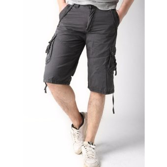 Men's New Army Six Pocket Cargo Shorts with Rope Design(Grey)