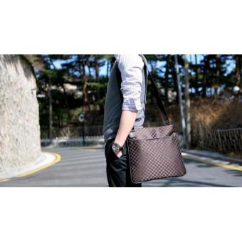 Men's Oxford Chess Pattern Large Canvas Messenger Bags - ChocolateBrown