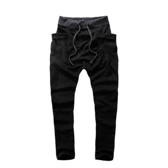 Mens Sweatpants Jogging Tracksuit Bottoms HIP HOP Jogger Sport Sweat Pants Black