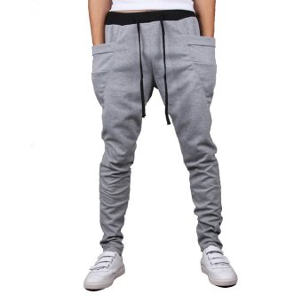 Mens Sweatpants Jogging Tracksuit Bottoms HIP HOP Jogger Sport Sweat Pants Gray
