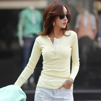 Mibeini Korean-style cotton female Shishang Slim fit T-shirt base shirt (Contrasting color yellow)