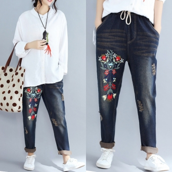 Mm2017 national wind embroidered female New style pants Plus-sized denim pants