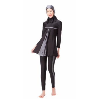 Modest Islamic Swimwear Islamic Swimsuit Women Hijab Swimwear Full Coverage Swimwear Muslim Swimming Beachwear Swimsuit Sport Clothing Dress Grey - intl