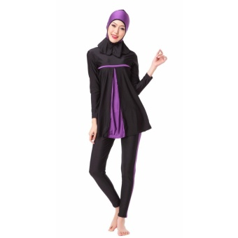 Modest Islamic Swimwear Islamic Swimsuit Women Hijab Swimwear Full Coverage Swimwear Muslim Swimming Beachwear Swimsuit Sport Clothing Dress Purple - intl