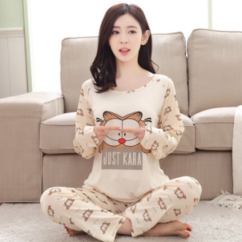 Mouth cotton long-sleeved Plus-sized women home clothes women pajamas (NS Garfield)