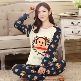 Mouth cotton long-sleeved Plus-sized women home clothes women pajamas (Ns maisr monkey)