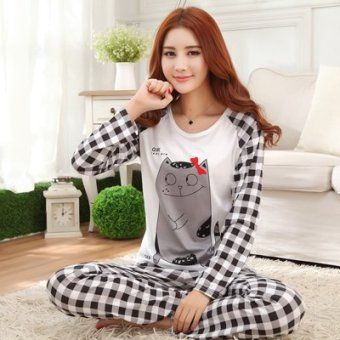 Mouth cotton long-sleeved Plus-sized women home clothes women pajamas (NS plaid mouse)