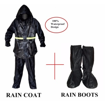 Multi-function Rain coat with water proof and elastic finish with free rain boots
