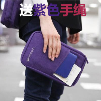 Multi-functional documents bag ticket passport clip wallet documents bag (Purple)