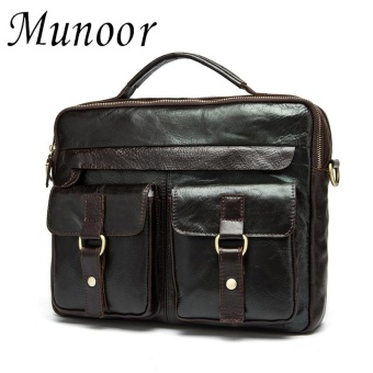 Munoor 100% Genuine Cow Leather Bag Men Shoulder Crossbody BagsMen's Travel Messenger Bags - intl