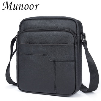 Munoor 100% Genuine Cow Leather Bag Mens Shoulder Crossbody Bags Travel Messenger Bags (Black) - intl