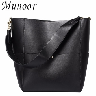 Munoor Italian 100% Genuine Cow Leather Women Tote Bags FashionableHandbags Shoulder Bag for Travel (Black) - intl
