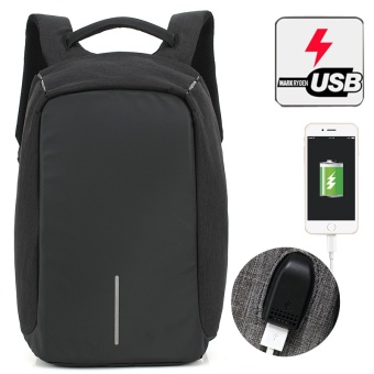 Munoor Unisex Anti-theft Backpacks USB Charging Port Business Travel 15.6inch Laptop Bag School College Bag Daypack (Black) - intl