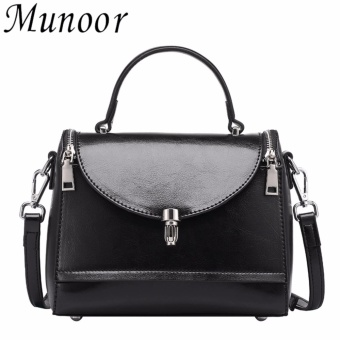 Munoor Women Cross Shoulder Bags 100% Genuine Leather FashionableSling Bags Casual Travel Holder (Black) - intl