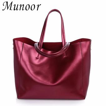 Munoor Womens Tote Bags 100% Genuine Cowhide Leather Fashionable Shoulder Lady Bags Handbags for Travel (Burgundy) - intl