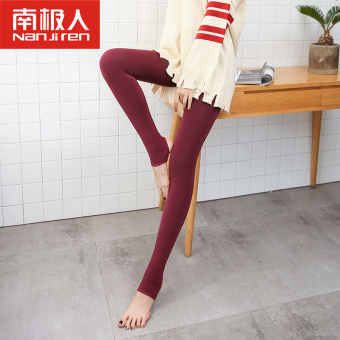 Nan Ji Ren Plus velvet black warm thick pants leggings (Red Wine)