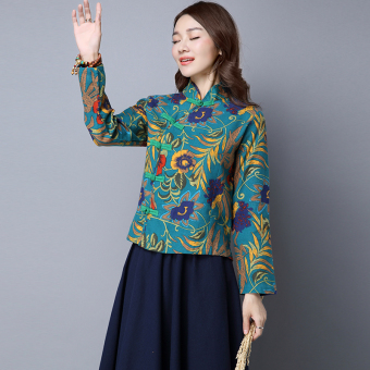 National Style cotton linen autumn New style Chinese costume (Green)