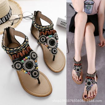 National Style handmade beaded bracelet flat heel zip gladiator sandals flat sandals (Black)