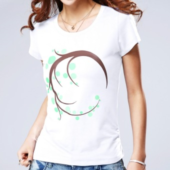 National Wind female short-sleeved Slim fit Short sleeve Women's Top Print cotton T-shirt (White)