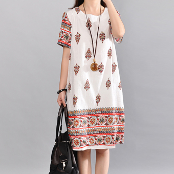 National Wind Print long section round neck short-sleeved dress (White) Price Philippines