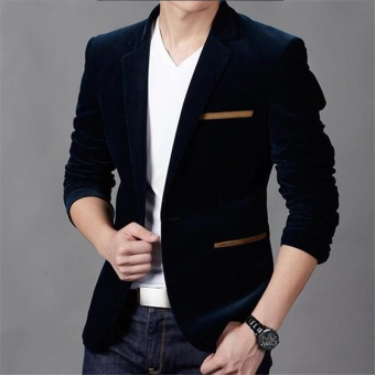 navy blue New Arrival slim fit Men Suit costume homme Vest Formal Business mens blazer Suit mens suits wedding jacket - intl