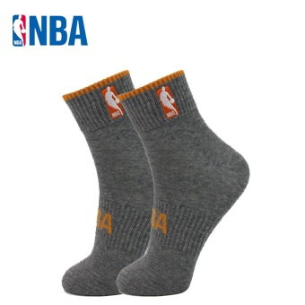 NBA Men's Athletic Combed Cotton Socks - Solid Color (In the flower gray/SUN orange)