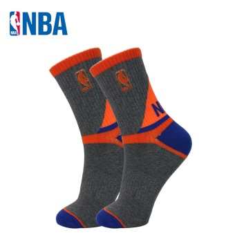 NBA Men's Athletic Y-Heel Combed Cotton Tube Socks (Gray/orange/blue)