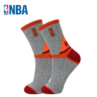 NBA Men's Athletic Y-Heel Combed Cotton Tube Socks (Gray/orange/Hong)