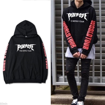 New 2016 Justin Bieber Purpose The World Tour Hoodie Sweatshirt Black Unisex(Black) - intl