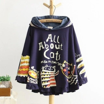 New Autumn And Winter Hoodies Hooded Loose Print Cat 2 ColourKawaii Japan Style Harajuku Hoodies Tops Cute Warm - intl Price Philippines