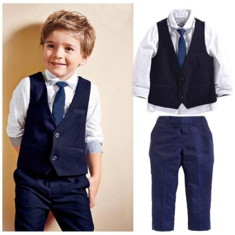 New Baby Kids Boys Tuxedo Suit Shirt Waistcoat Tie Pants Formal Outfits Clothes (color:Black) - intl
