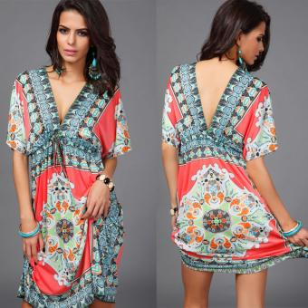 New Boho Women Dress Sexy Loose Sundresses Deep V Ethnic Dashiki Print Tunic Beach Dresses Big Size Woman SunDress Robe Rose - intl