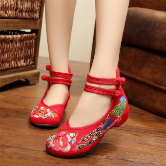 New Chinese Style Women Casual Shoes Flower Sandals Embroidered Flats Mary Janes -Intl