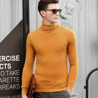 fall men sweater 100 long sleeved turtleneck sweater Mens pure - intl