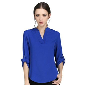 New Fashion Women Blouses Elegant Long Sleeve V-neck Solid ColorChiffon Blouses Casual OL Shirts Women Tops Blusas High Quality