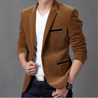 khaki Arrival slim fit Men Suit costume homme Vest Formal Business mens blazer Suit mens suits wedding jacket - intl