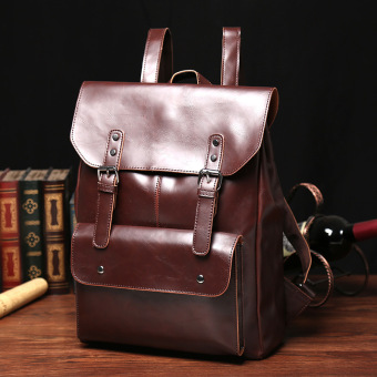 New Leisure Rucksack Crazy Horse Leather Rucksack Bag Old SchoolBackpack Middle School Back Pack Travel Bag Men Women Bag - intl