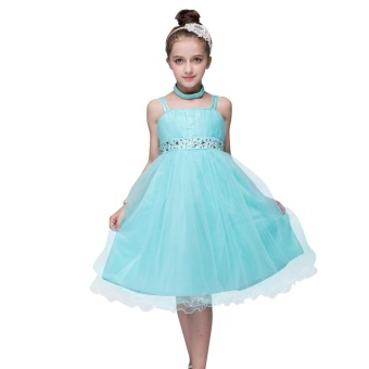 New Spring Beading Drill Dress Princess Girls Dress Gown Style ForKids - intl