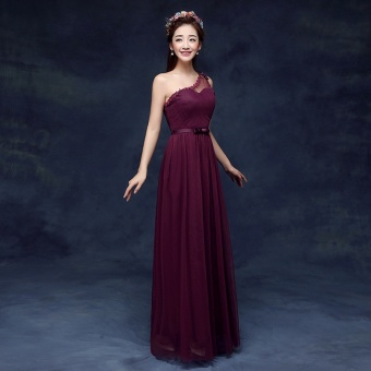New style bridesmaid slimming sisters skirt dress bridesmaid dress (DL grape purple) (DL grape purple)