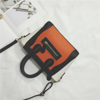 New style contrasting color bag women's bag (Orange with white)
